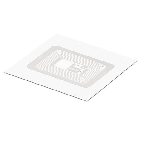 Inlay HF LABEL CLEAR PET RECT 28.6/44.5MM - HF ICODE SLIX2 Clear PET overlay on top Antenna RECT 22.5/35.5 mm