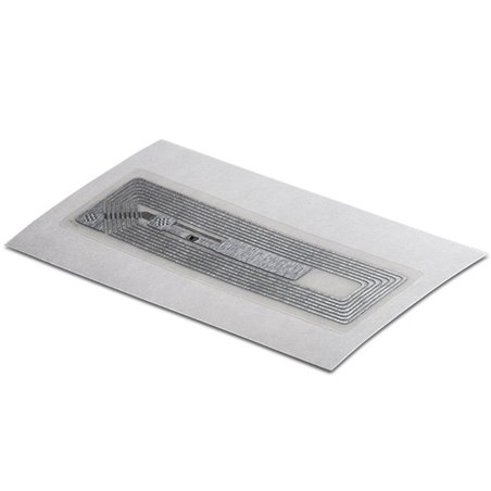 Inlay HF LABEL CLEAR PET SQUARE 18/57 MM - HF ICODE SLIX Clear PET overlay on top Antenna RECT 14/54 mm